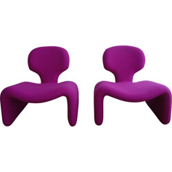 "Airborne set of two ""Djinn"" purple low chairs, Olivier MOURGUE - 1965"