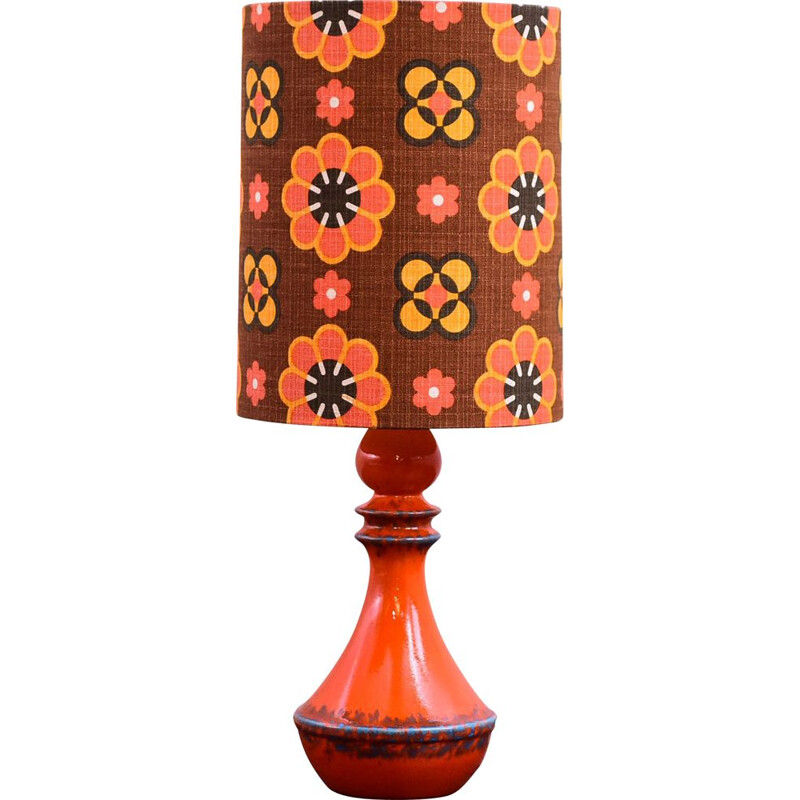 Vintage orange ceramic tablelamp