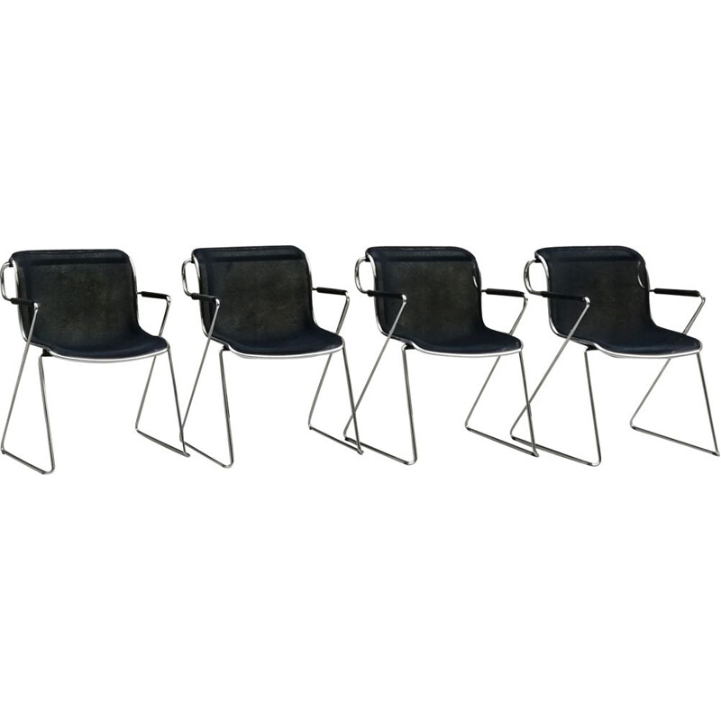 Set of 4 vintage Penelope chairs by Charles Pollock 1980