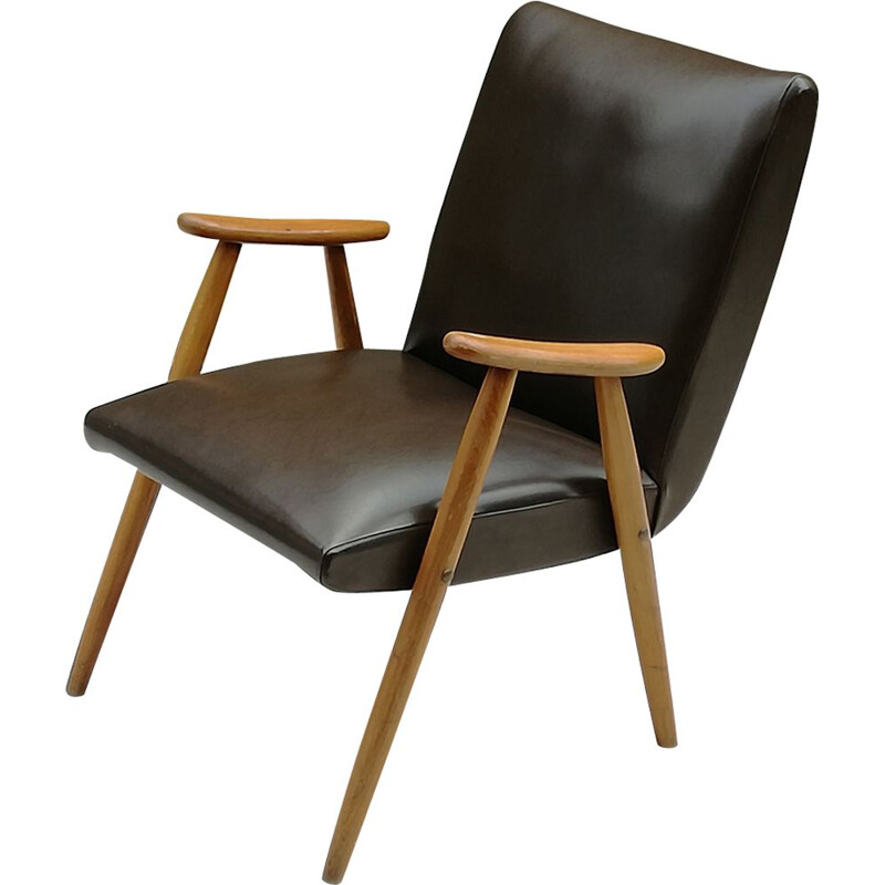 Vintage Scandinavian beech and brown leatherette armchair 1960