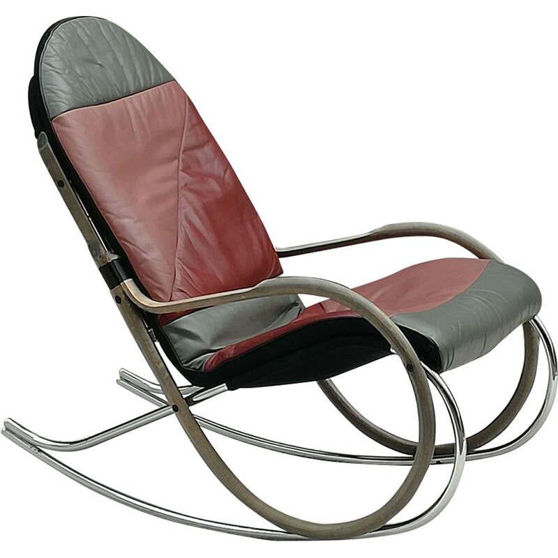 "Vintage rocking chair steel, wood and leather ""Nonna"" by Paul Tuttle for Strässle"