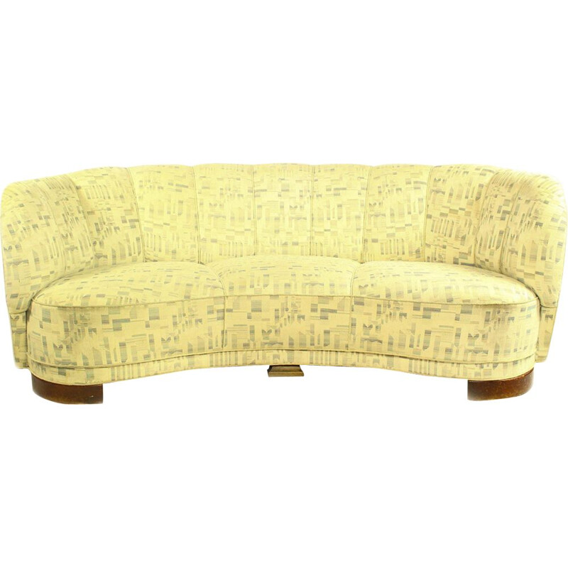 Vintage Danish Banana Curved Sofa 1940s