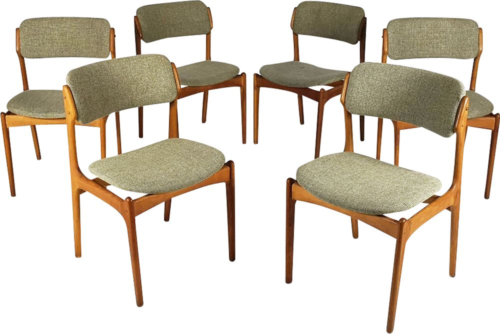 suite of 6 vintage chairs model 49 by erik buch for od møbler 1960