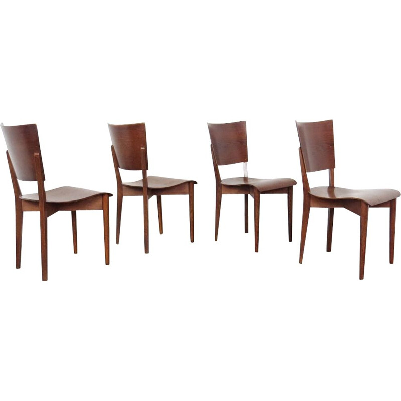 Set of 4 vintage dining chairs by Jindrich Halabala, 1930