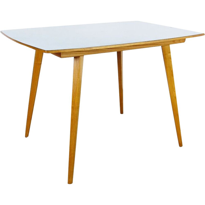 Vintage white dining table, Czechoslovakia, 1960