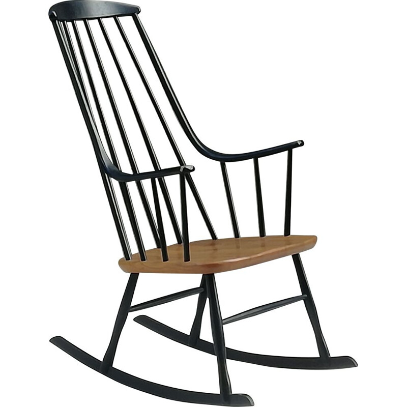 "Scandinavian vintage rocking chair model ""Grandessa"" by Lena Larsson for Nesto, 1960s"