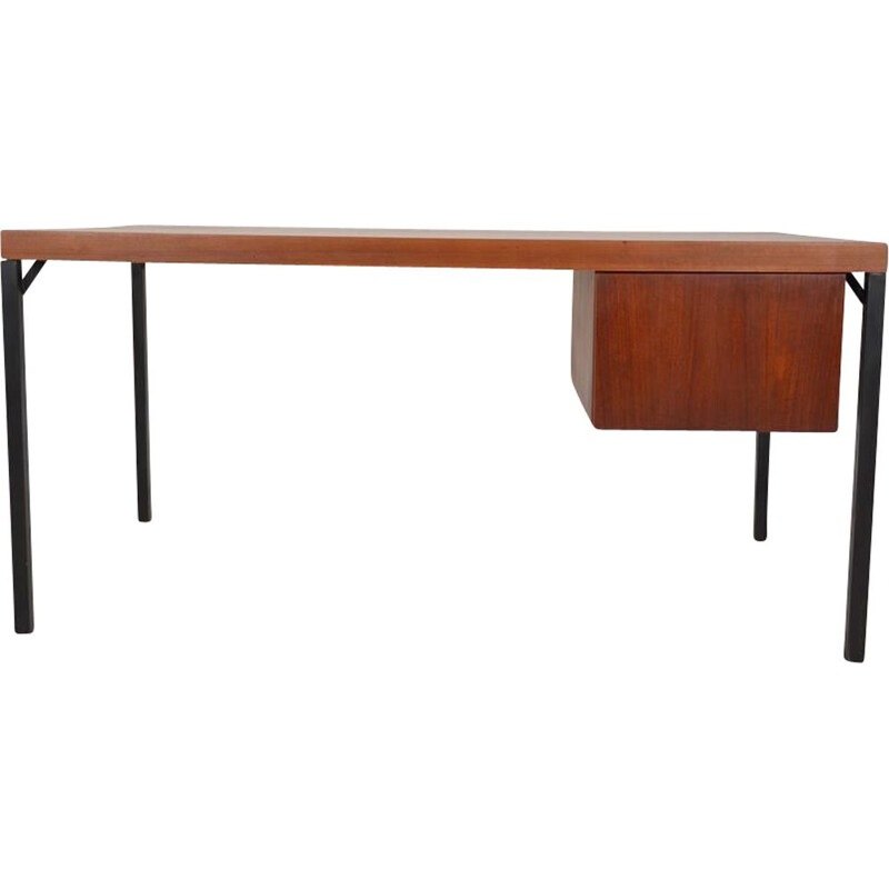 Vintage wood and metal desk, 1950-60s