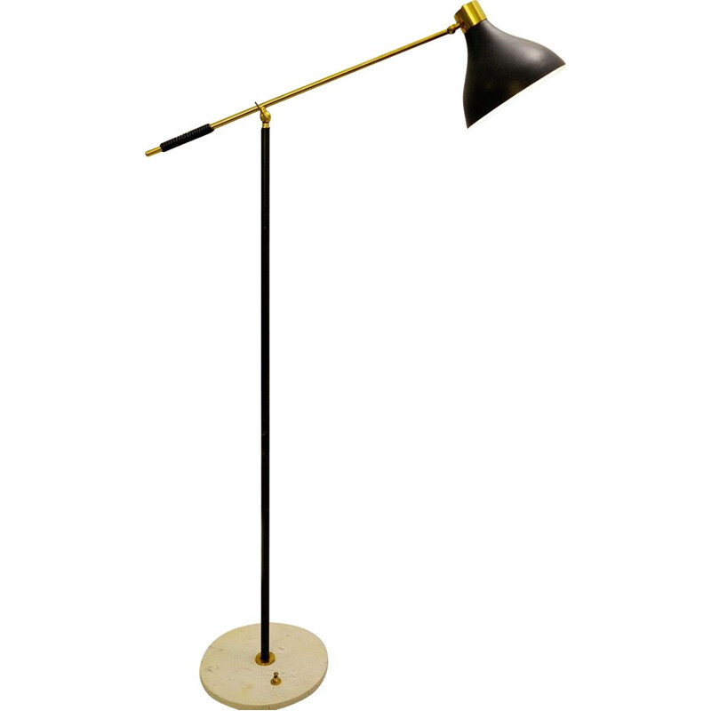Vintage floor lamp Stilnovo, marble base and brass arm, 1950