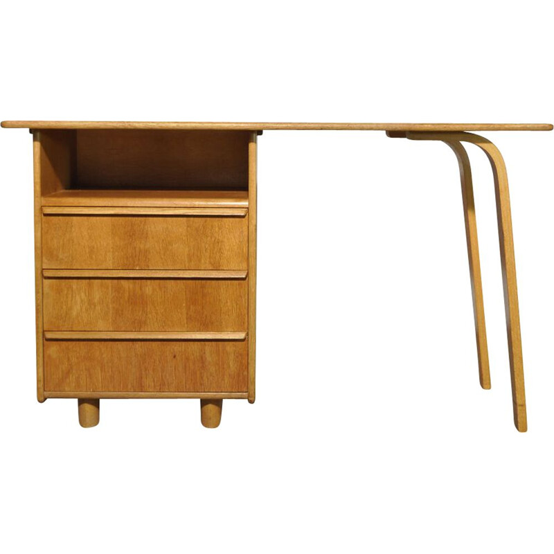Oak vintage desk by Cees Braakman for Pastoe, 1950s