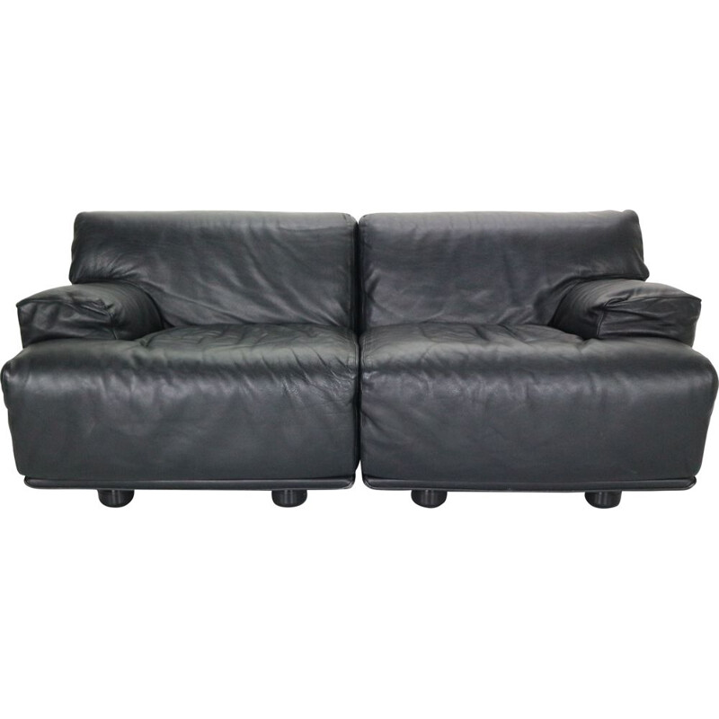 Vintage Leather 2-Seat Sofa by Vico Magistretti and manufactured by Cassina in 1970