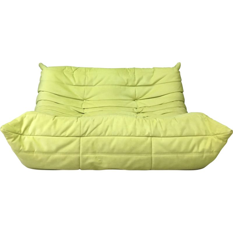 Vintage two seater Togo sofa in green lime color by Ligne Roset