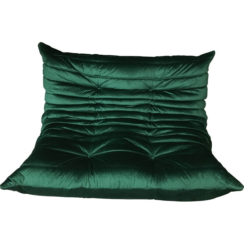 Vintage green velvet Togo two seater sofa by Ligne Roset