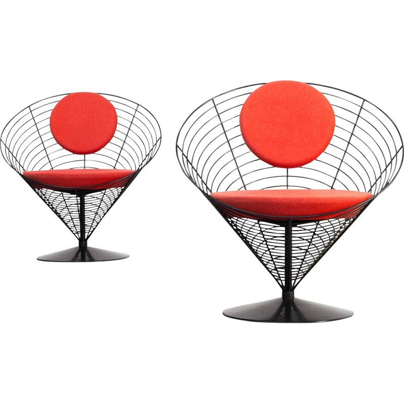 Pair of vintage cone chair by Verner Panton for Fritz Hansen