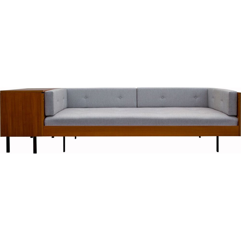 Vintage daybed in teak, metal and fabric, 1960s