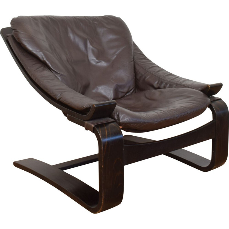 Vintage Leather Armchair by Ake Fribyter for Nelo Möbel, 1970s