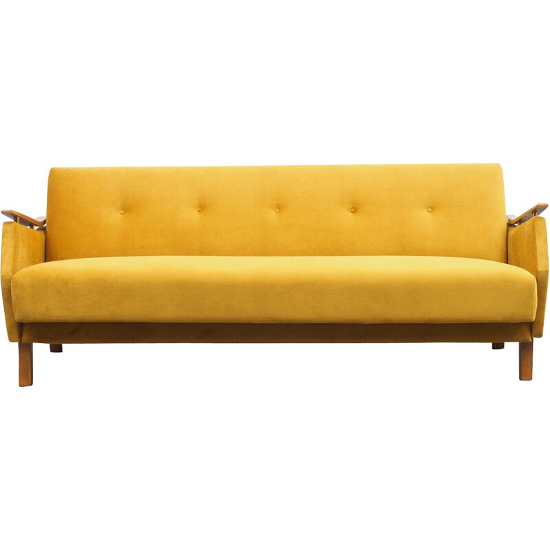 Vintage yellow fabric and beech sofa, 1950s