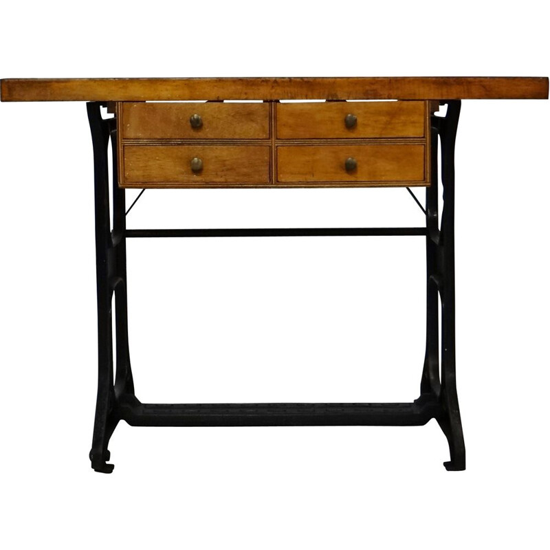 Vintage wood and iron work table, 1930s