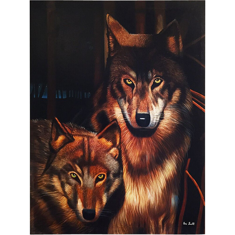 Realistic Wolves Painting By Eric Scott, Oil On Canvas 1980