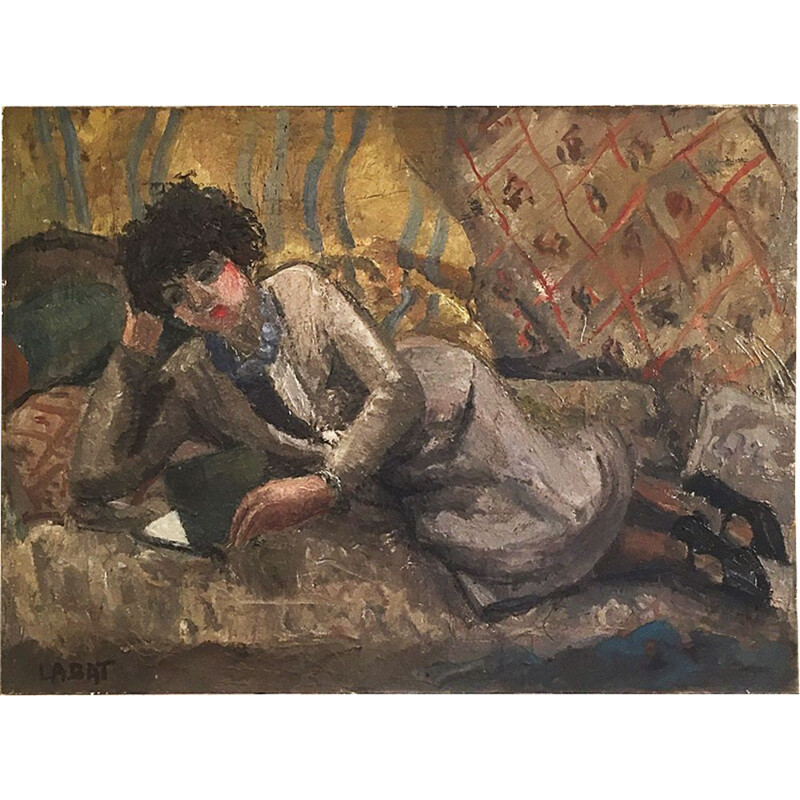 Art Deco Impressionist Woman Reading By Fernand Labat, Oil On Canvas