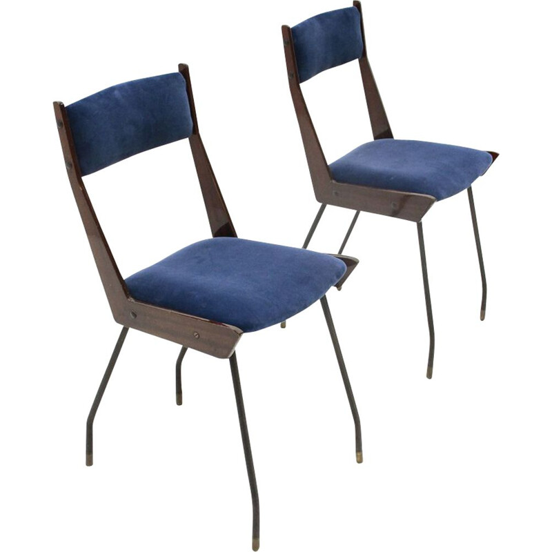 Pair of vintage italian blue velvet dining chair by RB Rossana, 1950