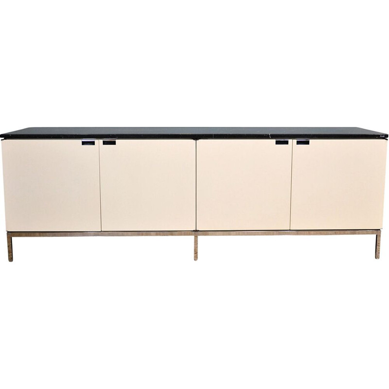 Vintage Florence Knoll Credenza In Ivory White And Black Marquina Marble, 1961