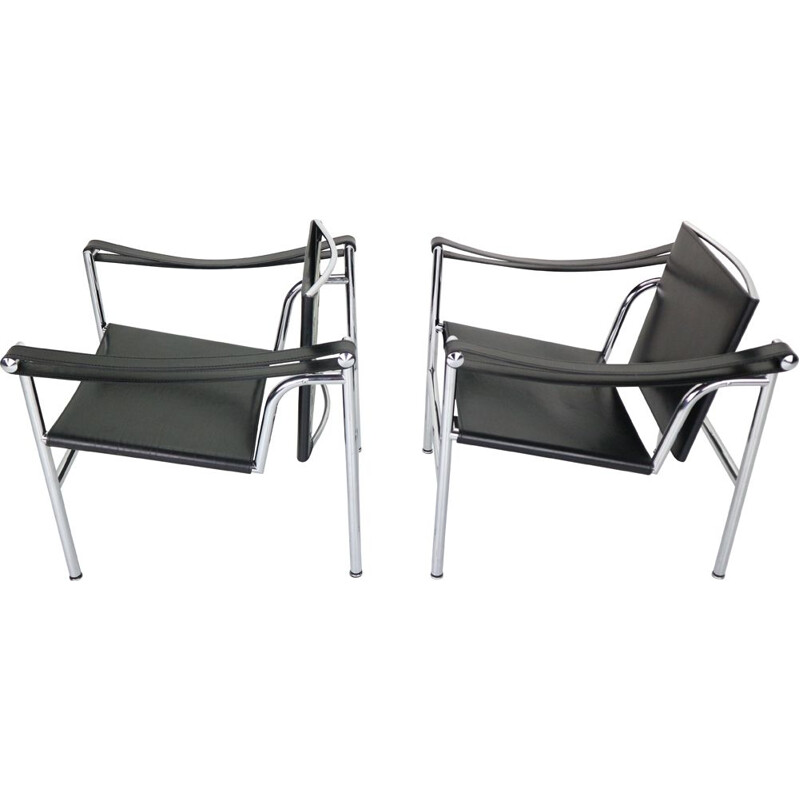 Set of 2 vintage black leather armchairs model- LC1 by Le Corbusier for Cassina, 1970s