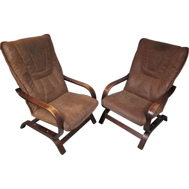 Vintage pair of brown armchairs in suede, 1970s