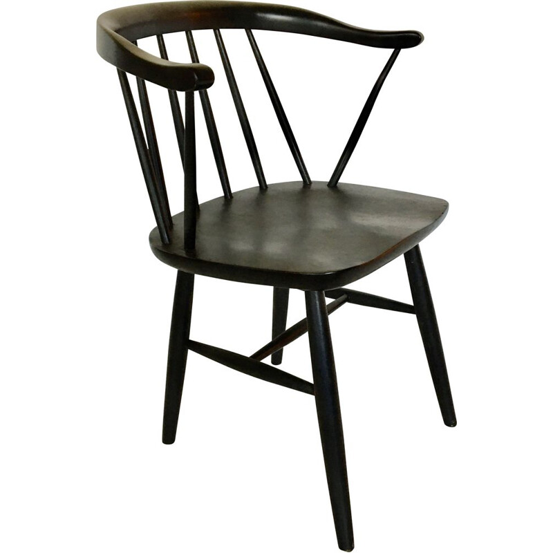 Vintage black stained beech armchair