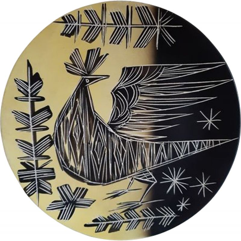 Vintage Vallauris plate with an incised decoration by François Ré from 1960