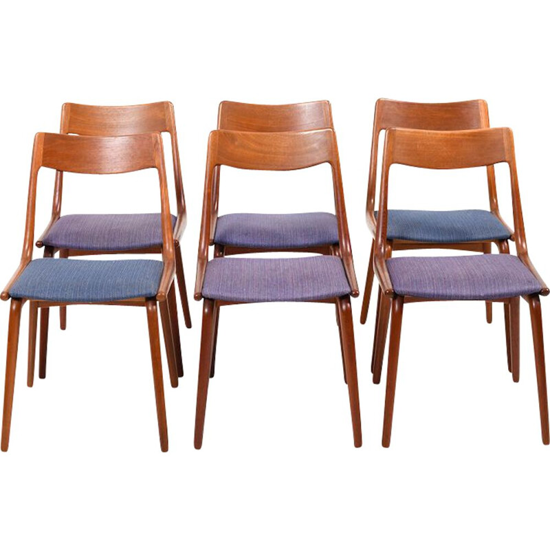 Vintage set of 6 Boomerang Teak Chairs by Alfred Christensen