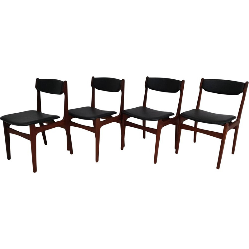 Set of 4 vintage chairs with teak frame, Denmark, 1970s