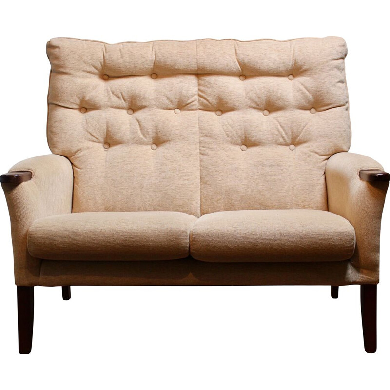 Vintage 2-seater sofa in beige velvet fabric, 1950s