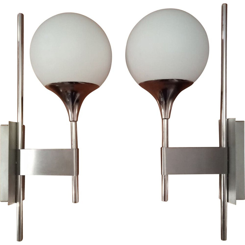 Pair of vintage chromed wall lights, Italy