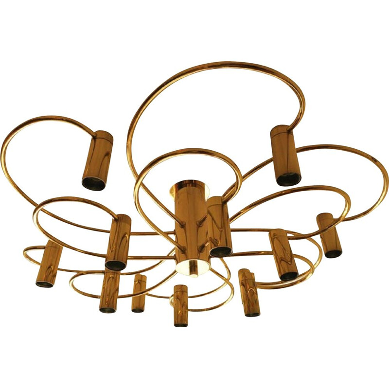 Vintage two-tier brass chandelier by Honsel