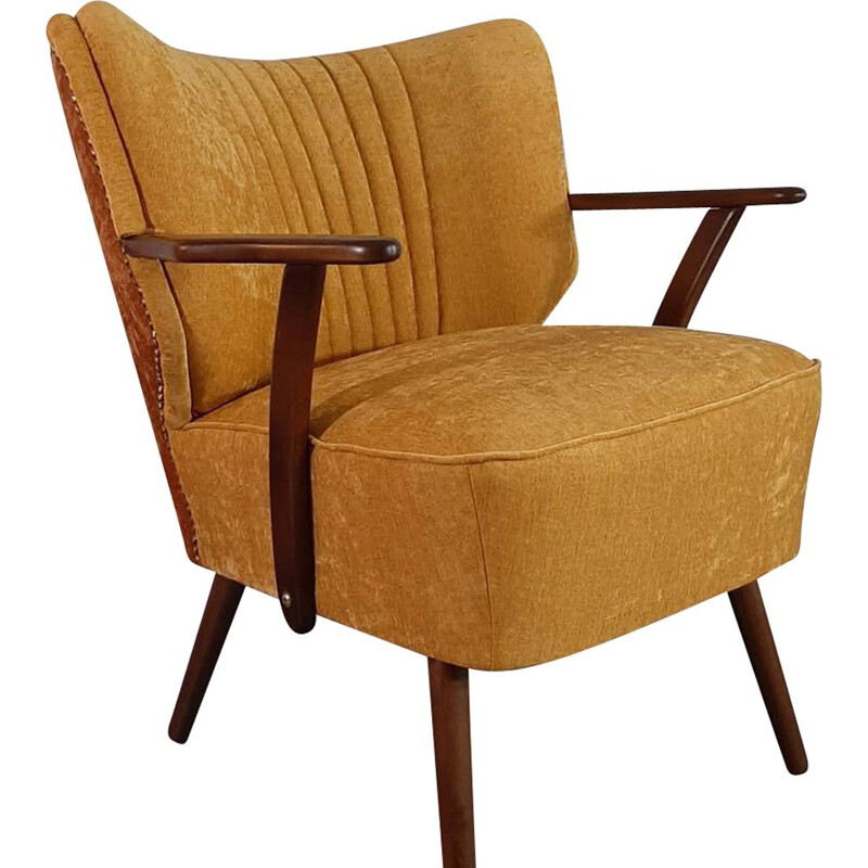 Vintage yellow cocktail armchair, Germany, 1950s