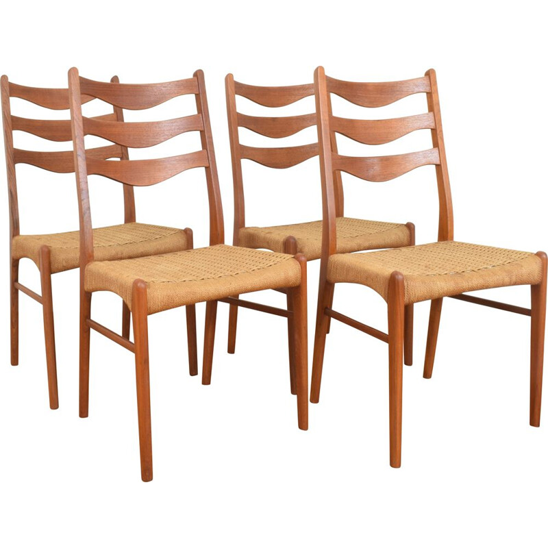 Set of 4 vintage teak chairs by Arne Wahl Inversen for Glyngøre Stolefabrik, 1960s