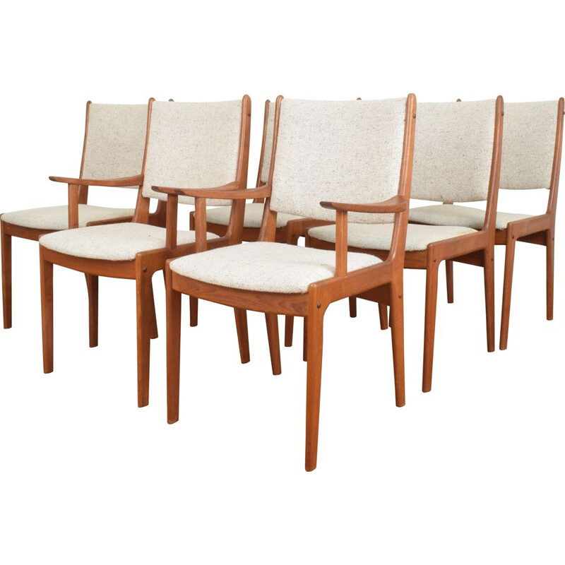 Set of 6 vintage teak dining chairs by Johannes Andersen for Uldum Mobelfabrik, 1960s