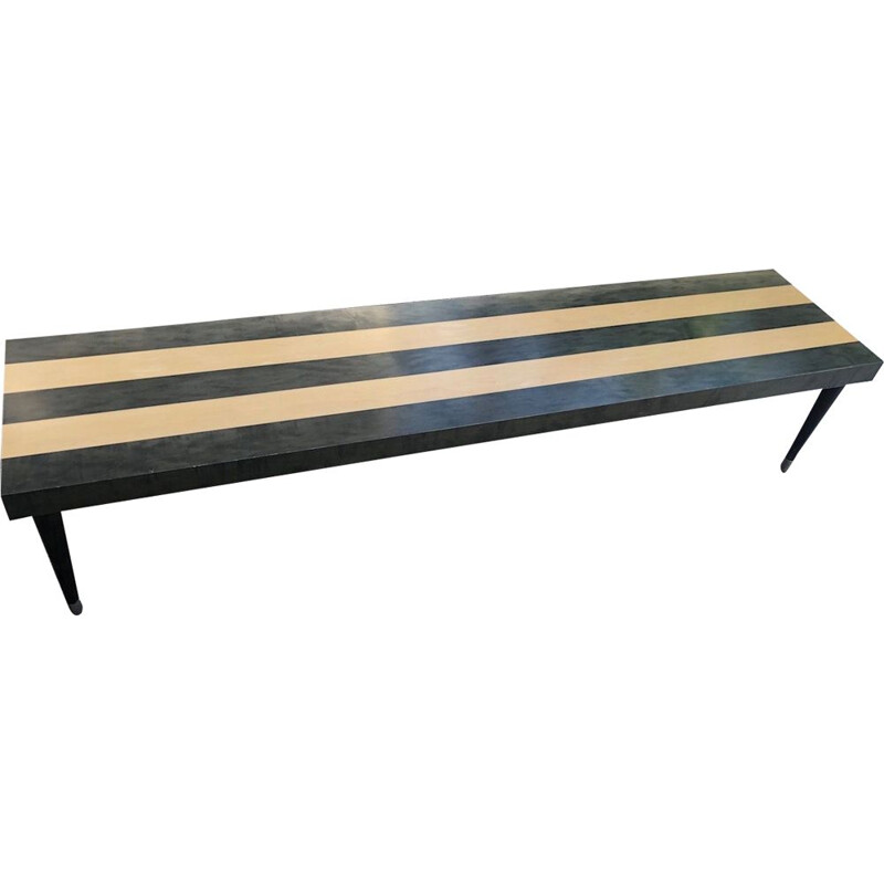 Vintage design bench in solid wood with striped pattern and brass footbase 1980
