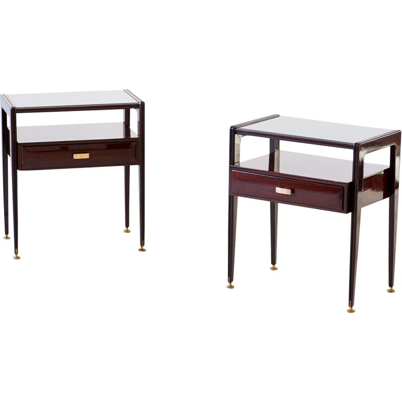 Pair of Vintage Italian mahogany Bedside Tables with Glass Top 1950