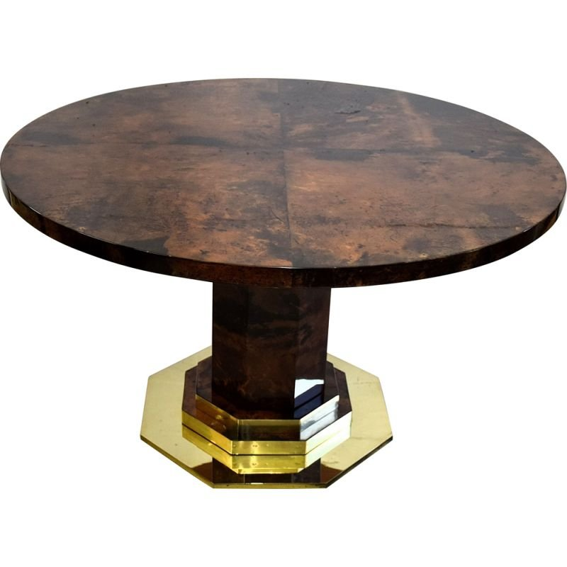 Vintage Brown Goatskin and Brass Dining Table Aldo Tura