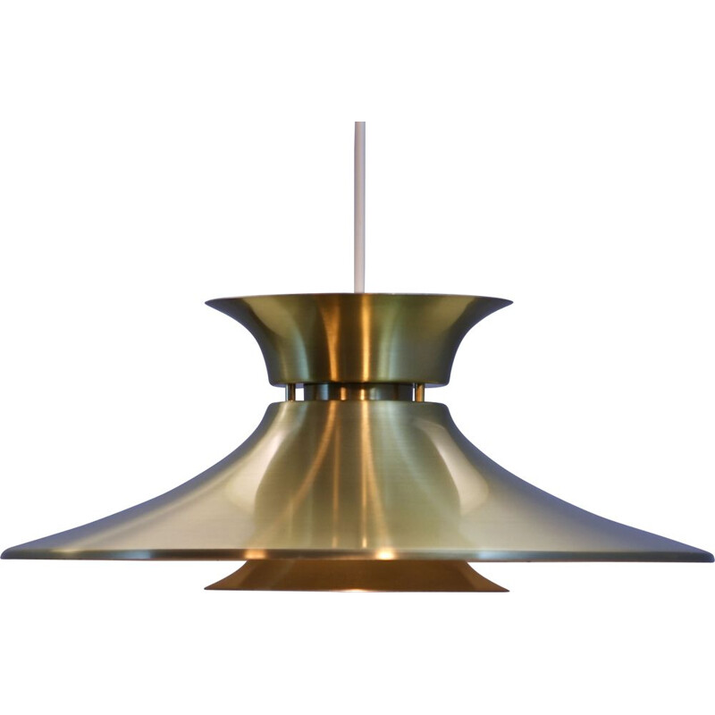 Vintage aluminium and brass pendant lamp, Denmark, 1970s
