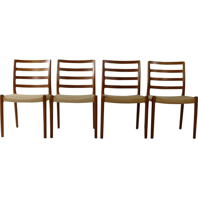 Set of 4 vintage teak chairs by Niels Møller, Denmark