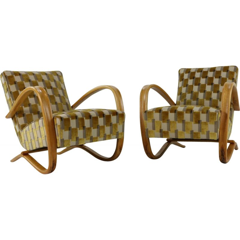 Pair of fabric and velvet lounge chairs by Jindrich Halabala