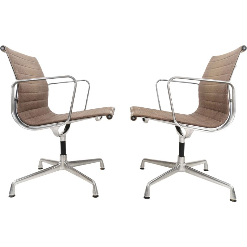 Pair of EA 107 vintage office armchairs by Charles & Ray Eames for Vitra