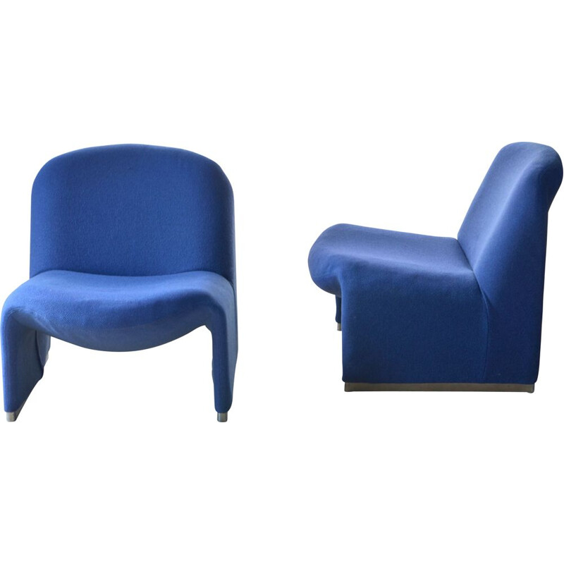 "Vintage blue woollen armchair ""Alky"" by Giancarlo Piretti, 1960s"