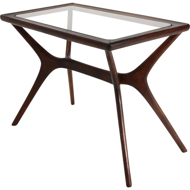Vintage coffee table in wood and glass, Italy, 1950s