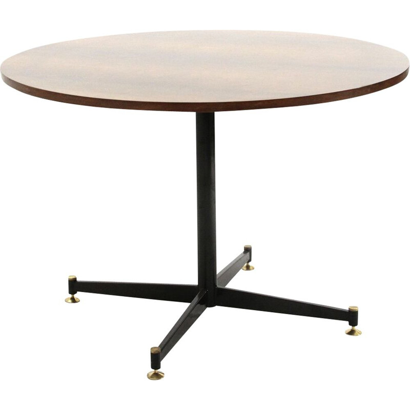 Round vintage dining table in wood and black metal, 1950s