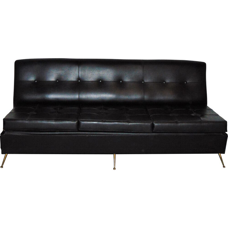 Vintage black sofa in leatherette with brass feet