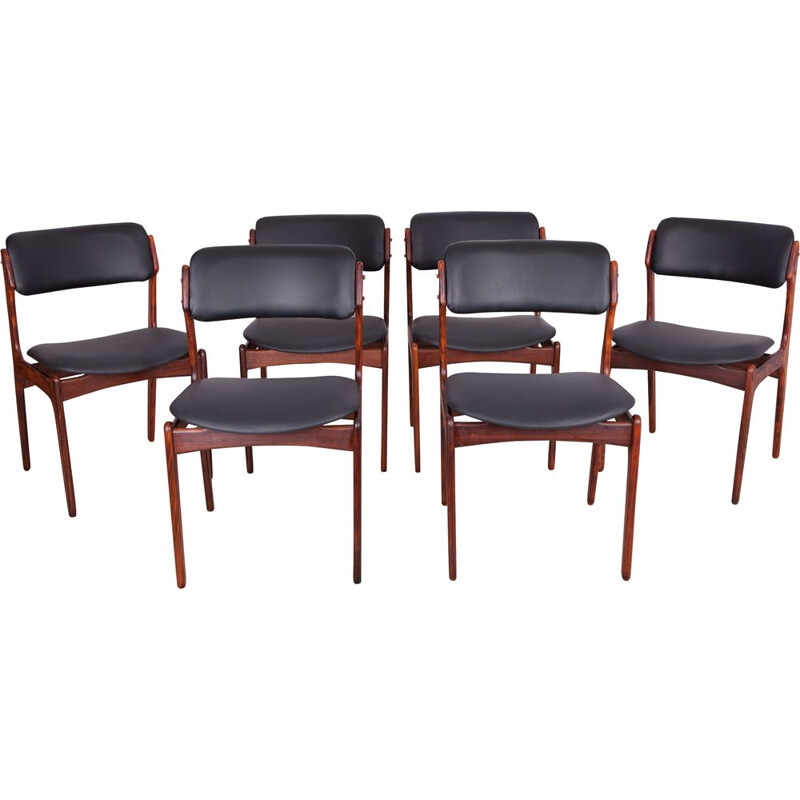Set of 6 rosewood vintage dining chairs by Erik Buch for Odense Maskinsnedkeri, 1960s