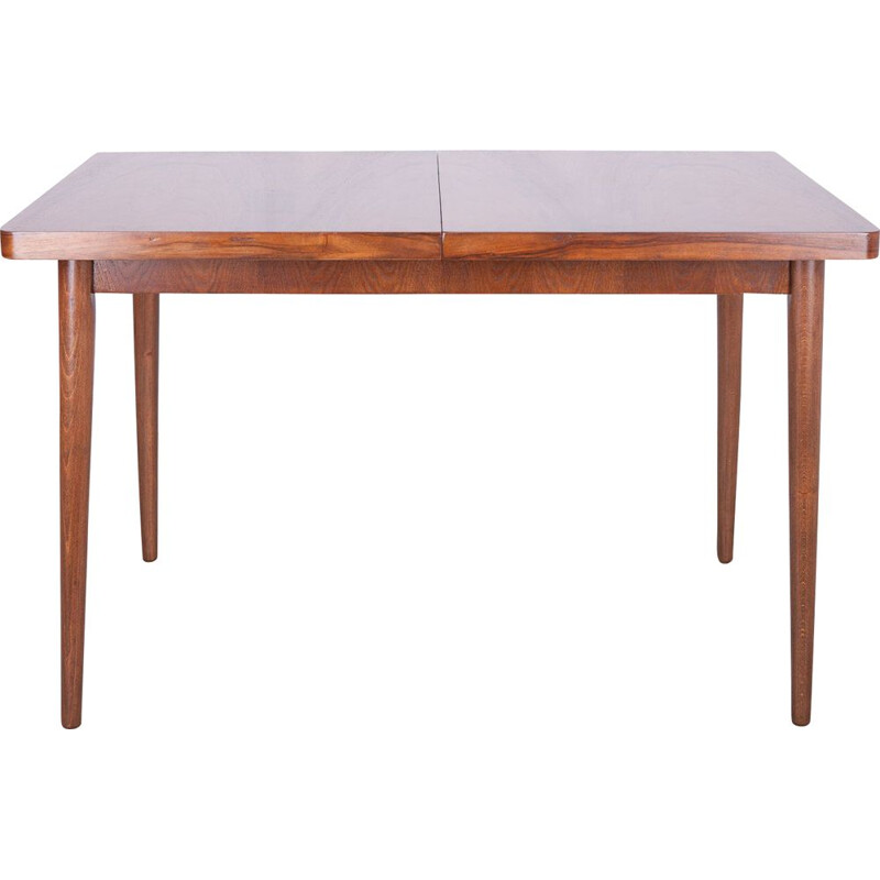Walnut czech extendable vintage dining table, 1960s